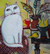 Whit cat with yellow pears  » Click to zoom ->