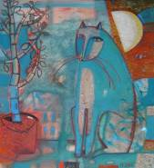 Cat, moon and sapling(sold)  » Click to zoom ->