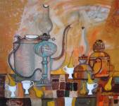 Still-life with white cups  » Click to zoom ->