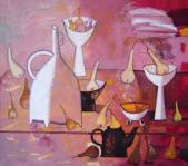 Steel-life with pears and white vases  » Click to zoom ->