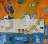 Still life with a white teapot  » Click to zoom ->